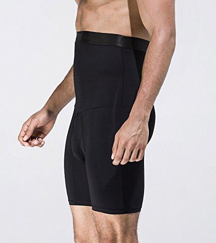 Panegy Herren Body Shaper Boxershorts Figurformende Unterwäsche Unterhose mit Bauchweg Effekt Sport Training Funktionsunterwäsche Weiß Schwarz M-XL Schwarz