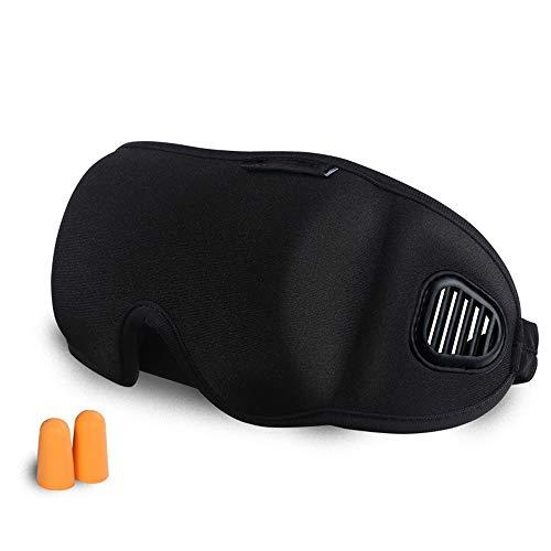 Schlaf Augenmaske 3D Blackout Schlafmaske mit geräuschsicheren Ohrstöpseln für Travel Nap und Deep Sleep