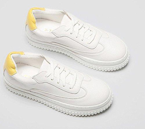 2017New Damen-Schuhe Dickes Leder Freizeit Sport Gürtel mit runde weiß Single Schuhe Gelb
