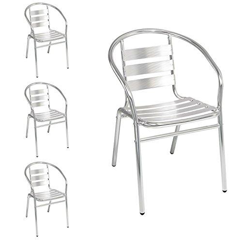 4 Stück Mojawo® Bistrostühle stabile Aluminium stapelbar Stapelstuhl Gartenstuhl Campingstuhl Alustuhl Balkonmöbel Gartensitzmöbel Silber Küchenstuhl