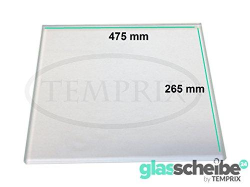 Kühlschrank Einlegeboden von Temprix / Glasscheibe für Gemüsefach / Ersatzglas für Kühlschrank - Klar transparent - 475 x 265 x 4 mm | Profiqualität | Sondermaße auf Anfrage - Glasscheibe24