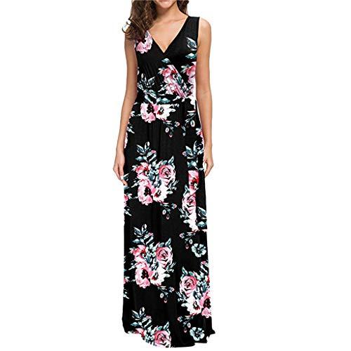 CAOQAO Damen ärmellose beiläufige Lange Kleider Strandkleider böhmische gedruckte ()