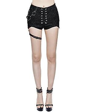 Devil Fashion Steampunk Donne Asimmetrico Vestibilit¨¤ Slim Pantaloncini Gotico Pantaloncini casual Estate,7 taglie