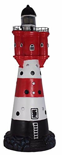 Leuchtturm 50 cm Roter Sand Solar für den Garten mit Licht, Dekoration