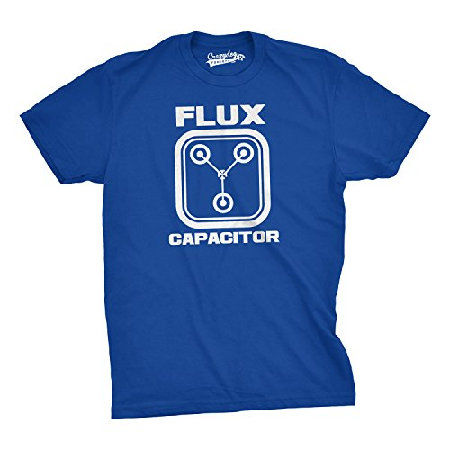 Crazy Dog TShirts - Flux Capacitor T Shirt Funny Vintage Retro 80s Movie T shirts for Men (blue) L - herren - L (T-shirt Vintage 80s)