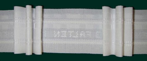 Faltenband mit 3 Falten, 50 mm, weiß, 250 % / Aufmachung 10 m -
