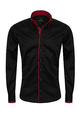 Giorgio Capone Herrenhemd, schwarz, Langarm, Doppelkragen, Slim & Regular Fit (L Reg mit (Easy Care Leinenhemd)