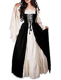 Guiran Medievale Vestito Donna Vintage Abito Lungo Cosplay Partito Costume  Nero XL 4fae4d99164