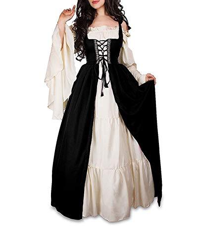 Guiran Damen Mittelalterliche Kleid mit Trompetenärmel Mittelalter Party Kostüm Maxikleid Schwarz 2XL