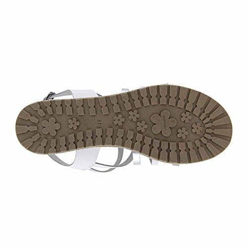 Sandali in pelle con glitter Bianco