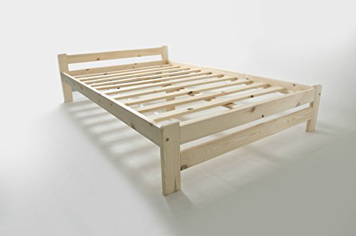 Double Bed 4ft Small Double Solid Pine Wood - Scandinavian Style