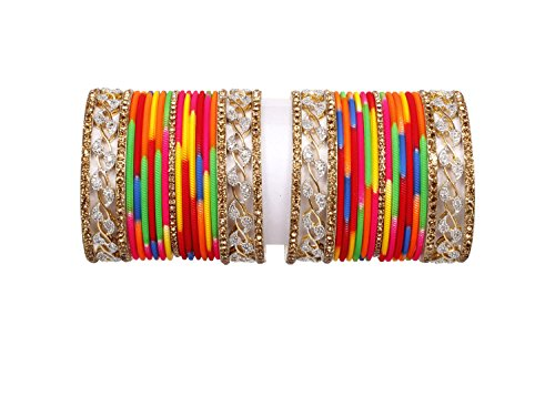 Ethnic Zircon Made Multi color gold Plain bangle set pair for women Wedding & party wear jewelry (2.6)