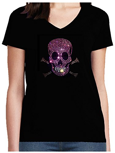 Skull Fun Shirt Damen V-Neck Strass Totenkopf mit Knochen rosa Skull Bones Karneval Fasching Kostüm T-Shirt Schwarz