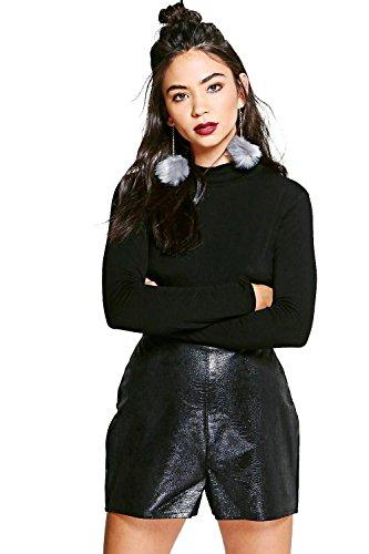 black-womens-viki-metallic-snake-skin-pu-shorts