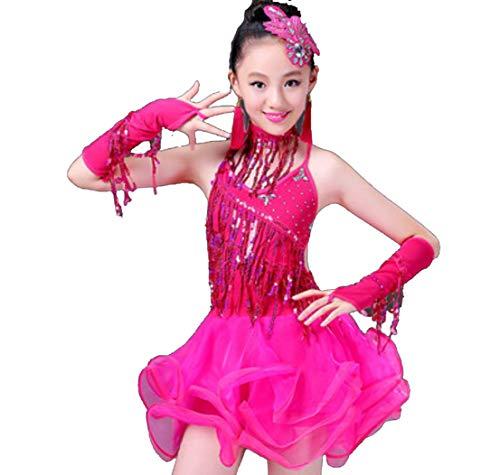 SMACB Kinder Latin Dance Dress Performance Kostüme Mädchen Wettbewerb Pailletten Quaste Tanz Praxis Performance ()