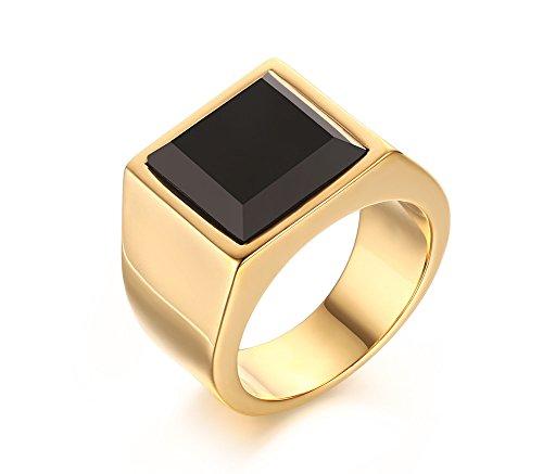 Vnox Antikes Edelstahl 18k Gold überzogener quadratischer schwarzer Achat Hochzeits Siegel Ring für Männer (Siegelringe Für Männer Gold)