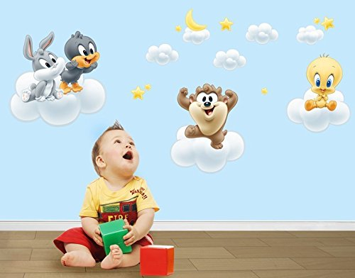 oo Baby Looney Tunes auf Wolken B x H: 120cm x 82cm (Baby Daffy Duck)