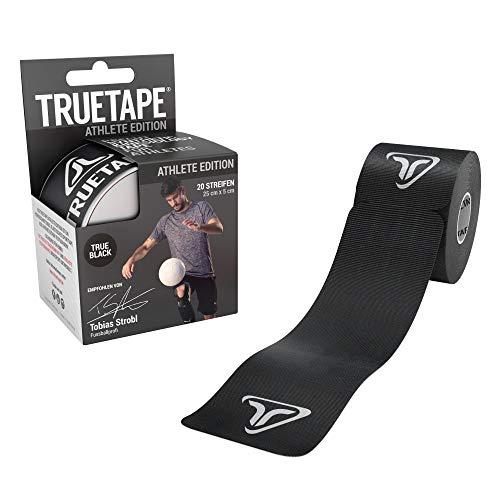 TRUETAPE - Kinesiotapes vorgeschnitten, 20 Streifen pro Rolle, innovatives Synthetikmaterial, inkl. +40 Anleitungen, Schwarz