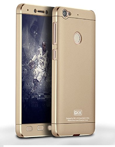 Heartly 3 Pcs Design Double Dip Hard Shell Premium Back Case Cover For Letv Le 1S / LeEco Le 1s Eco / LeEco Le 1S - Golden Gold  available at amazon for Rs.449