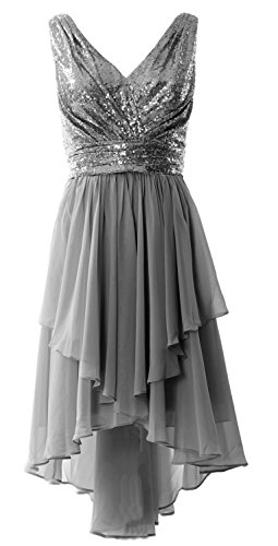 MACloth Women Straps V Neck Sequin Chiffon High Low Prom Dress Formal Party Gown Grau