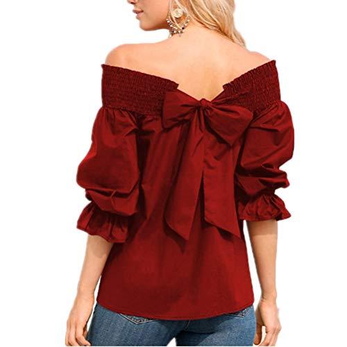 Frauen Krawatte Bogen Bluse Sommer Low Cut Elastische Manschette Slash Neck Off Schulter 3/4 Flare Sleeve Shirts Casual Elegante Tops - Unter 10 Dollar Jeans Süße