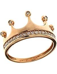 4686b04eddcf Anillo Corona de Oro de 18 K 750 1000 con circonitas blancas
