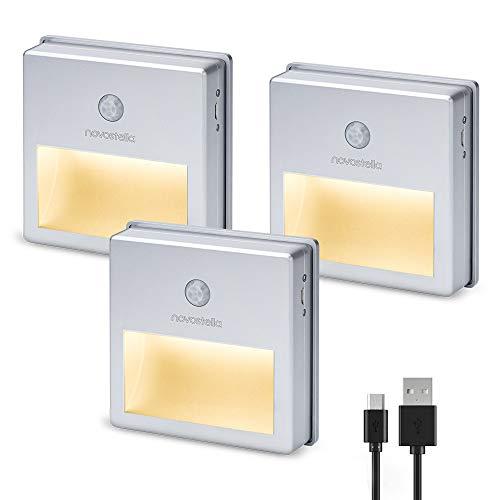 Novostella LED Nachtlicht Bewegungsmelder 3 Stück Aufladbar Dämmerungssensor Orientierungslicht USB Wiederaufladbare Nachtlampe Schranklicht für Treppenhaus Schlaf/Kinderzimmer Waschraum warmweiß