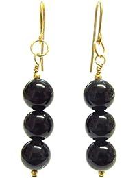 21d424dda5ce Pendientes de oro de 9 quilates con piedras preciosas de color negro
