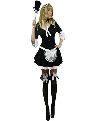 Yummy Bee - Victorianische French Maid Kostüm Damen Echter Federstaubwedel Größe 36 - 46 (Kostüme Maid Edle)