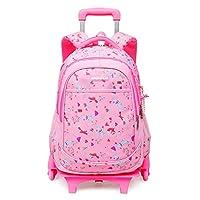 Zilee Kids Rolling Backpack Boys Girls Trolley School Bag with Removable Wheeled Waterproof Primary Students Rucksack Teenager Daypack Outdoor Travelling Study Rucksack 6 Wheels - Pink