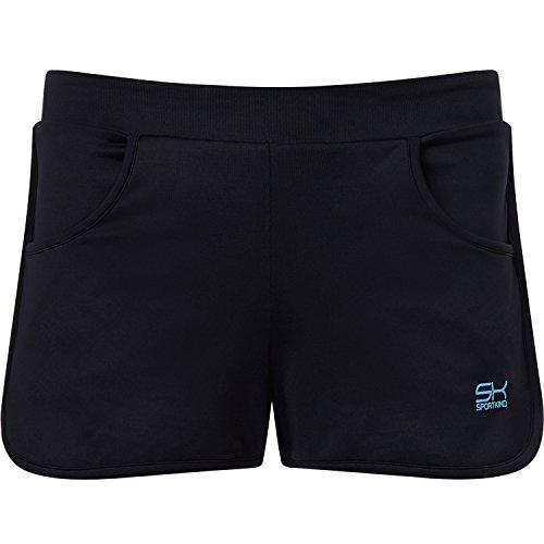 Sportkind Mädchen & Damen Tennis / Volleyball / Sport 2-in-1 Shorts mit Innenhose, schwarz, Gr. S