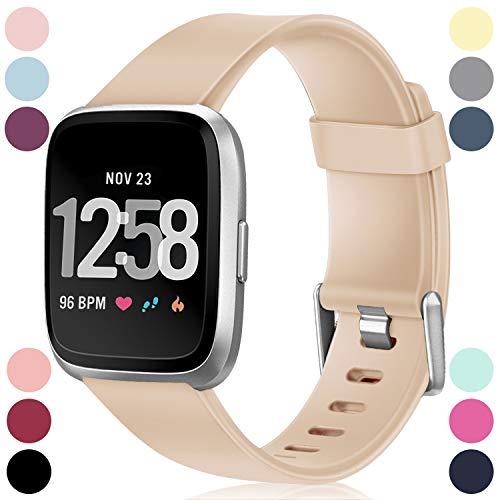 Entwickelt Nussbaum (HUMENN Armband Für Fitbit Versa/Fitbit Versa Lite, Classic Weiches TPU Sports Ersetzerband Verstellbares Zubehör Uhrenarmband für Fitbit Versa Smartwatch Klein Nussbaum)