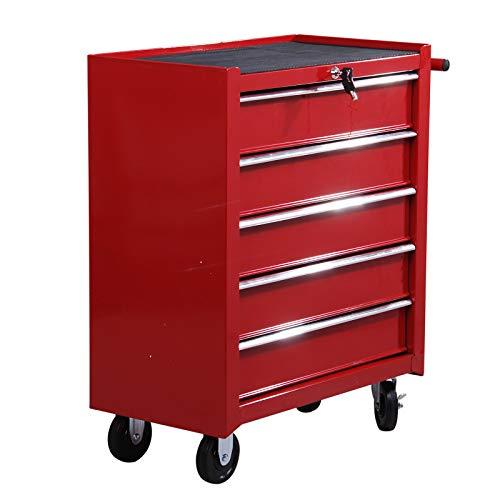 Homcom E2-0004 - Carrito de taller para herramientas, con ruedas, caja de herramientas con 5cajones...