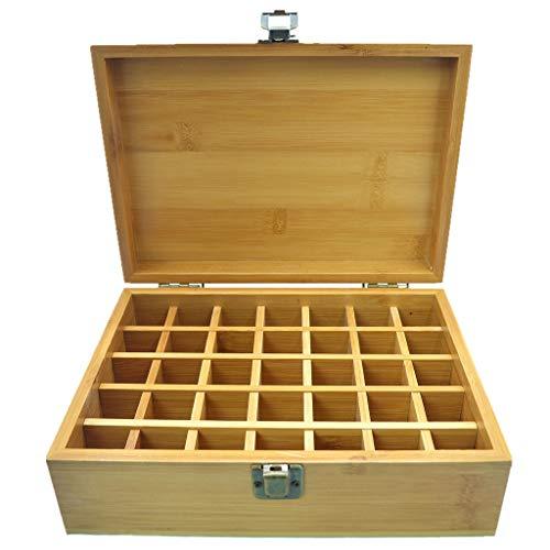 Beunyow 35 Löcher Tragbar Bambus Aromatherapie Geschenk-Box Ätherische Öle Flaschen Box Aufbewahrung Koffer Box - Geeignet für Nagellack, Duftöle, Ätherisches Öl, Stain und Lippenstift