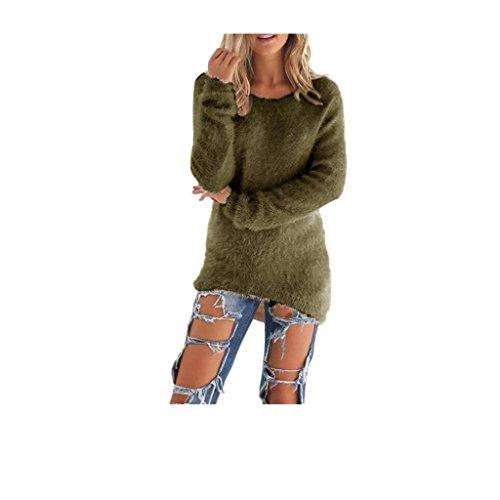 Koly _Manica lunga Jumper maglioni camicetta delle donne Army Green