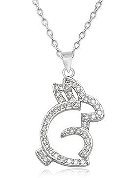 EYS JEWELRY® Damen-Halskette Häschen Bunny Hase 26 x 14 mm Zirkonia 925 Sterling Silber rhodiniert kristall-weiß...