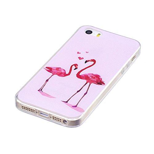 Samsung Galaxy J7 2016 ( J710F ) Custodia Cover, Cozy Hut Samsung Galaxy J7 2016 ( J710F ) Silicone Caso Molle di TPU Cristallo Trasparente Sottile Anti Scivolo Case Posteriore Della Copertura Della P Flamingo Love