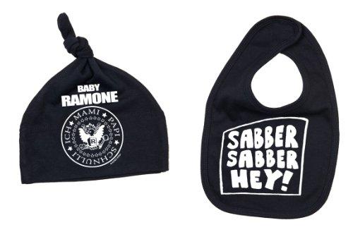 BABY RAMONE Lätzchen + Mütze Set Sabber Sabber hey Babylatz schwarz