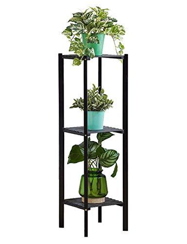 LYXPUZI Bambuswohnzimmermehrschichtiger Blumenregalbodenbodenbalkon fleischiger Innenblumentopfspeicher (Farbe : SCHWARZ, -