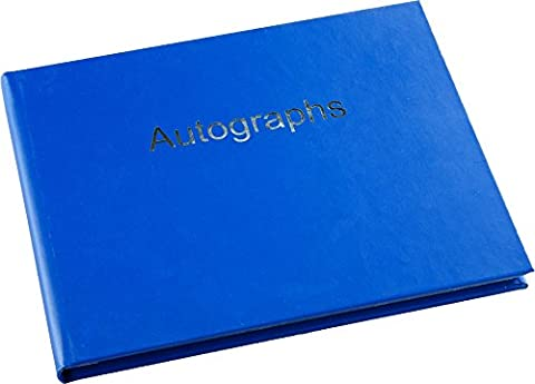 Autograph Book - Hardback - Silver Edged Pages - Dark Blue