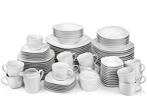 Sänger Geschirrservice Bilgola aus Porzellan 86 teilig | Kombiservice für 12 Personen Speisetellern, Desserttellern, Suppentellern, Tassen und Untertassen, Eierbechern sowie Milchkanne und Zuckerdose
