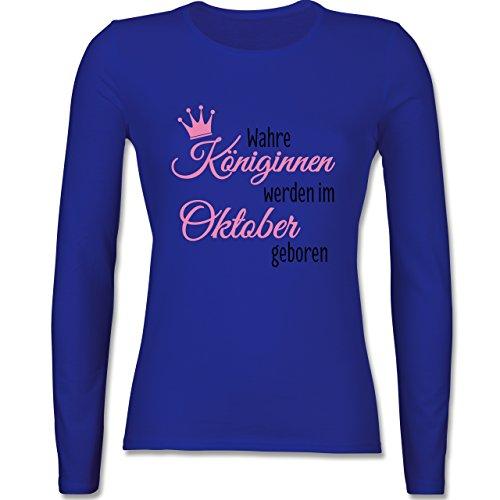 Geburtstag - Wahre Königinnen werden im Oktober geboren - tailliertes Longsleeve / langärmeliges T-Shirt für Damen Royalblau