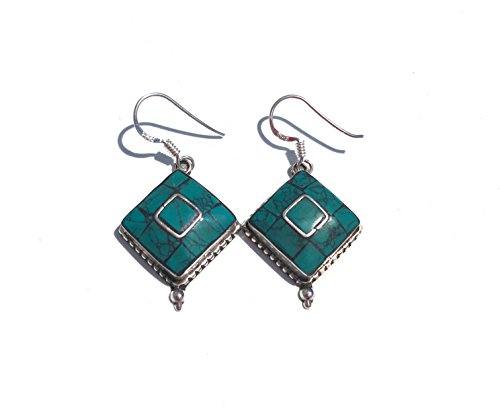 Ethnos Barcelona - Silver earrings and turquoise mosaic