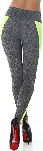 Flower Power - Legging de sport - Slim - À Rayures - Femme Dunkelgrau-Neongelb