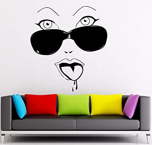 Crjzty Wandaufkleber Abnehmbare Heiße Mädchen Brille Cool Decor Home Schlafzimmer Wandtattoos MädchenRaumdekoration WandkunstWand114x126 cm