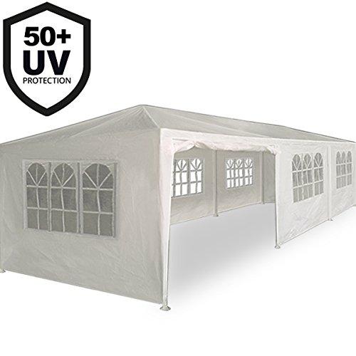 Deuba Festzelt Rimini 3x9m weiß | 27m² Pavillon mit aufrollbaren 8 Seitenwänden | 24 Rundbogenfenster | wasserabweisend | UV-Schutz 50 + | Farbauswahl