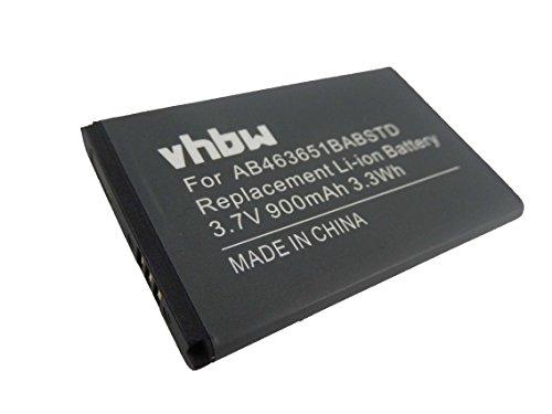 vhbw Li-Ion Akku 900mAh (3.7V) für Handy Smartphone Telefon Samsung GT-S5611, GT-S7220, GT-S7220 Ultra Classic, GTS5500 wie AB463651BA, AB46365UG.