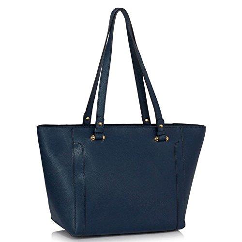 LeahWard® Große Größe Schultertaschen Zum Damen mode Berühmtheit Stil Damen Einkaufstasche Essener Tote Handtasche A4 350 Marine Schultertasche