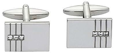 Cancella / argento rettangolari Tre set di cristallo Gemelli di Zennor