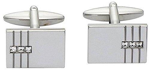 Cancella / argento rettangolari Tre set di cristallo Gemelli di (Cancella Ottone)